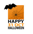 bat and spider on web on halloween orange vector image vector image