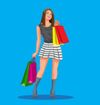 beautiful woman is shopping the girl with the vector image vector image