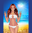 beautiful young women in white bikini vector image