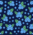 blueberry seamless pattern with icons blue vector image vector image