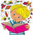 boy looks in a book vector image