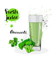 broccoli juice fresh hand drawn watercolor vector image vector image