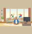 children play and jump on sofa vector image