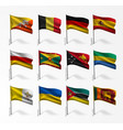 collection of flags of world on flagpole vector image vector image