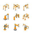 conveyor machines robotic hand icons set isometric vector image