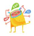crazy yellow talking monster children cartoon vector image vector image