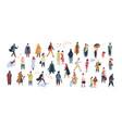crowd of tiny people dressed in autumn clothes vector image vector image