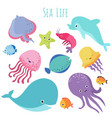 cute baby sea fishes cartoon underwater vector image