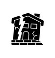 dilapidated house black glyph icon vector image