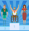 disabled people on champion podium vector image