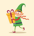 elf in rush to deliver gift box to child christmas vector image