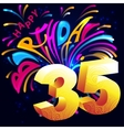 Fireworks Happy Birthday with a gold number 35 vector image vector image