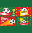 football day banner set flat style vector image