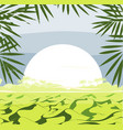 frame with hills landscape grass leaves and big vector image vector image