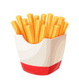french fries in carton package vector image vector image