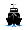 frontal view a floating ship tug or boat logo vector image