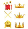 golden medieval symbols realistic icons set vector image vector image