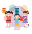 group of happy girls with presents box vector image vector image
