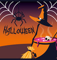halloween card with spider vector image vector image