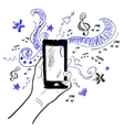 Hand touchscreen sketch music vector image vector image
