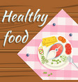 healthy food flatlay steamed fish vegetables plate vector image