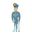 injured young hispanic policeman with broken leg vector image vector image
