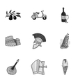 Italy country set icons in monochrome style Big vector image vector image
