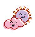 kawaii sun and cloud with cheeks and eyes vector image vector image