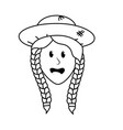 line pretty woman face with hat vector image