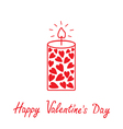 Love candle with hearts Happy Valentines Day vector image