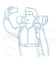 Man with backpack making selfie vector image vector image