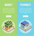 market and pharmacy town buildings vector image