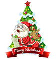 merry christmas 2020 font banner with santa claus vector image