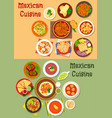 mexican cuisine dinner dish icon for menu design vector image vector image