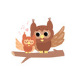 mother owl with its owlet cute forest birds vector image