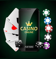 online internet casino marketing banner phone app vector image vector image