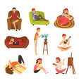 people spending weekend at home and relaxing set vector image vector image