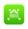 pirate bone icon green vector image vector image