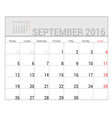 planners for 2016 september vector image vector image