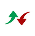 red and green arrows icon isolated on white vector image vector image