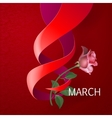 Ribbon March 8 greeting card vector image