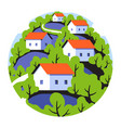 round badge with rural landscape with small houses vector image vector image