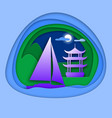 sailing yacht at sea with pagoda near mountain vector image vector image