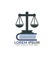 scale of justice and book logo design vector image vector image