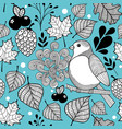 Seamless doodle pattern with autumn nature and