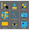 set flat line design icons for digital vector image