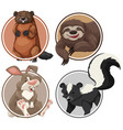 set of exotic animals on circle template vector image