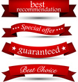 Set of red ribbons vector image