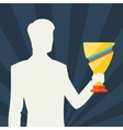 Silhouette of man holding prize cup vector image vector image