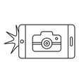 smartphone take photo icon outline style vector image vector image